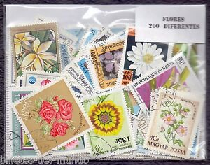 B-D-M Lote 200 sellos mundiales diferentes flores - 200 different stamps flowers