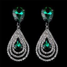 Hot Crystal Teardrop Dangle Drop Studs Rhinestone Earrings Women Fashion Jewelry