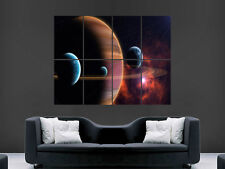 SPACE PLANETS SKY RINGS   ART WALL PICTURE POSTER  GIANT !!