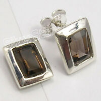 """925 Sterling Silver BROWN SMOKY QUARTZ TRADITIONAL Stud Post Earrings 0.4"""" NEW"""