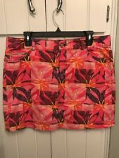 EUC LILLY PULITZER COELI SKIRT PRINTED CORDUROY PINK FLORAL NAVY BLUE 10