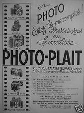 PUBLICITÉ 1949 PHOTO-HALL KINAX LYNX FOCA ELOY LUMIERE - ADVERTISING