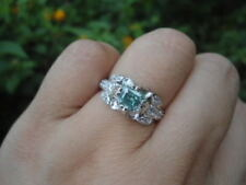 2.38TCW Greenish BLUE MOISSANITE Sub to Diamond 925 Silver Engagement RING 7.0