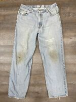 Men's Calvin Klein Jeans, 36x32, Straight Leg Fit Light Wash Distressed Thrashed