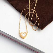 MICHAEL KORS Gold-Tone Heart Pendant Necklace w/ MK Dust Bag NEW