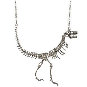 Chain Choker Chunky Bib Necklace Vintage Punk Rock Charm Dinosaur Pendant Y`hw