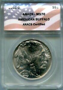 ANACS-MS70 2001-D BUFFALO Commemorative Silver Dollar - Totally White