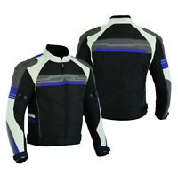 MOTORCYCLE ARMORED BIKER HIGH PROTECTION WATERPROOF JACKET BLACK/BLUE CJ-9412AIR
