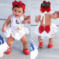 Summer Newborn Baby Girl Snow White Backless Romper Jumpsuit Clothes Outfits New