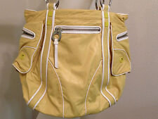 NEW JUICY COUTURE NYLON UNIQUE YELLOW HUGE LARGE SHOULDER ZIP PURSE BAG PREPPY