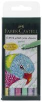 Faber Castell Pitt Artist Pens Pastel Colors Set 6 Markers Brush Tip
