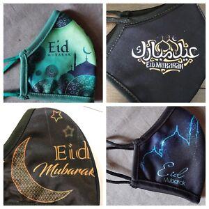 2 Eid Mubarak Face Masks Ramadan NEW- Reusable Cloth. Ships Today FREE!