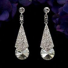 Rhodium Plated Clear Crystal Wedding Bridal Chandelier Drop Dangle Earrings 7907