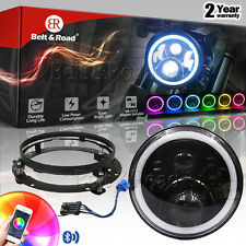 7 Inch LED RGB Halo Headlight+Black Bracket With 2014-17 Wire Adapter For Harley