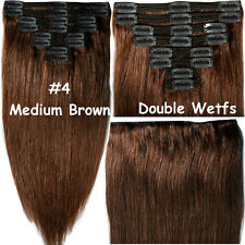 Professional Double Weft Clip In Remy Human Hair Extensions 180G-220G THICK A091