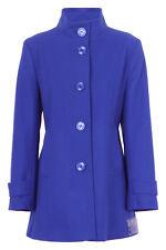 Busy Ladies Royal Blue High Neck Wool Blend Coat