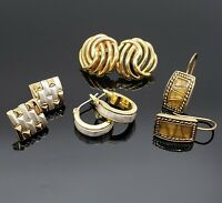 Vtg Signed Monet Gold Silver Two Tone Pierced Earrings Lot Small Petite Classic
