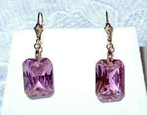 Pink Sapphire Earrings 37cts natural stones 14kt yellow Gold Filled leverbacks