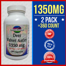 2Pak VELVET DEER ANTLER 1350MG 360Caps DIETARY SUPPLEMENT Made USA Max Strength
