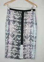 Portmans Size 12 Abstract Print Polyester Pencil Skirt