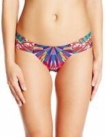 MARA HOFFMAN Parrots Red Side Ruched Bikini Bottoms Sz XS $115 NEW
