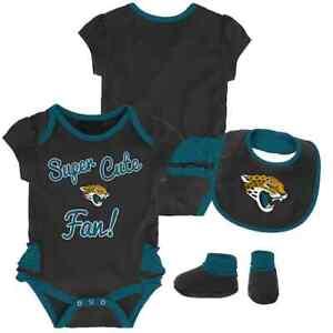 Jacksonville Jaguars NFL Baby Girl Mini Trifecta Bodysuit, Bib & Booties, 0/3 Mo