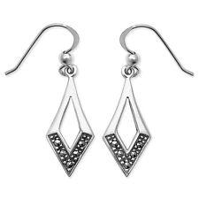Sterling Silver Open Diamond Shaped Marcasite Hook Wire Drops *SE668B