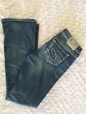 Silver Jeans Womens Aiko Boot Cut Dark Wash Distressed Jeans Size 26