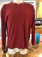 Tommy Jeans Maroon Long Sleeve V Neck Size Xl