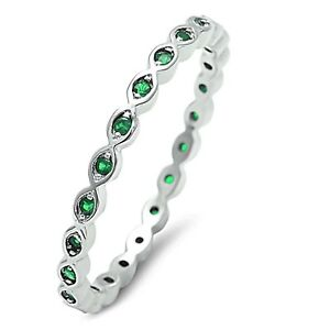 Stackable Emerald Green Infinity White Gold Finish Silver Eternity Ring