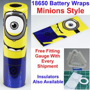 6 X Minions Styled 18650 Battery Wraps - Heat Shrink PVC Sleeves