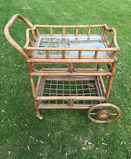 Vintage Rattan Bamboo Tea Bar Serving Cart Tray Liquor Buffet Tiki Coastal