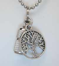 CREMATION JEWELRY URN NECKLACE TREE OF LIFE MEMORIAL KEEPSAKE CYLINDER PENDANT