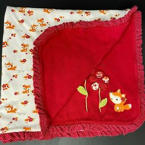 Gymboree Red Flowers Orange Fox Baby Blanket Cotton Ruffle Dots Reversible 2011