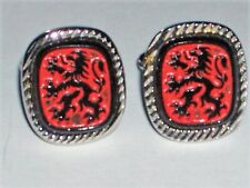 VINTAGE CUFF LINKS WEIRD UPRIGHT LIONS DEMONS OCCULT? BLACK ON RED SILVER MOUNT
