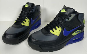 Nike Air Max 90 Boots Neon Green Blue Super Rare men's size 10 Hiking boots