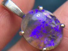 Australian Purple Crystal Lightning Ridge Opal Pendant in 925. **VIDEO** --K5L9J