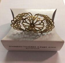 Avon Stamped Filigree 3-part Ring Goldstone