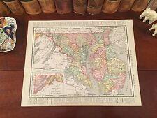 Original 1899 Antique Map MARYLAND DELAWARE Baltimore Annapolis MD Wilmington DE
