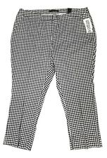 Amanda & Chelsea Womens Gingham Ankle Pants Black White Golf Trend 2018 20W $120