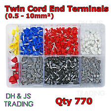 Assorted Box of Twin Cord End Terminals 0.5mm - 10.0mm Bootlace Terminal Ferrule