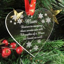 Personalised Christmas Tree Decoration Engraved Bauble Gift - In Memory of Mum