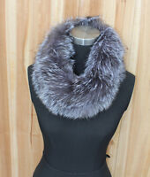 Genuine Real Silver Fox Fur Hand Sew Snood Neck Warmer Cowl Endless Scarf Scarve
