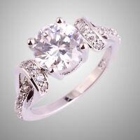 Engagement Round Cut White Topaz Gemstone Silver Ring Size 6 7 8 9 10 Jewelry