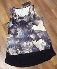 Tunic Top Dress 12 NWT Black Grey womens print Sleeveless Cruise Holiday