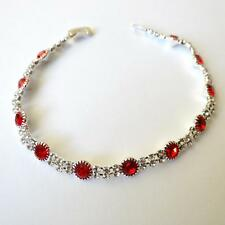 WOMEN'S TENNIS BRACELET SILVER Tone Sim. Red rubies White CZ  7.28 in. 344 AA