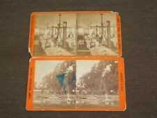 VINTAGE 2 ROUND LAKE NY STEREOSCOPIC VIEWS OLD BICYCLES AT CAMP & HOTEL DINING