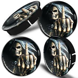 4 x 60mm / 55mm Universal Wheel Hub Cover Center Rim Caps Skull Middle Finger
