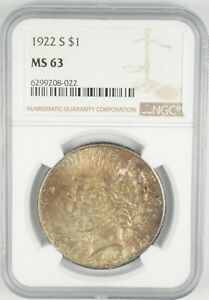 MS63 GRADED - 1922-S Peace Silver Dollar- NGC *437