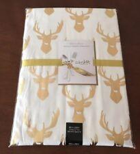 Colordrift Printed Gold Metallic Tablecloth w/ DEER 60 x 84 Cotton Blend NIP